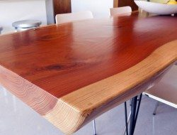 Eichler kitchen refurbished - the table was made by the home's owner from a redwood slab