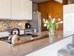 Eichler kitchen refurbished - cabinets and handles are pure Ikea