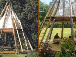 Here's a very interesting home office. During the warmer months, British design gurus Wayne and Geraldine Hemingway, of Red or Dead fame, work from a teepee shaped outdoor office made from reclaimed British Telecom telegraph poles.