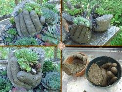 Aren't these 'hand'some? These DIY hand succulent planters are made from surgical gloves and cement mix.