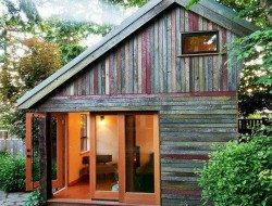 This wonderful home office is made from salvaged timber - including worn paint :)