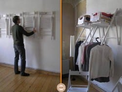 This is a great solution to create temporary or even permanent closet space. The bottom rod of the fold away chairs can be used for hanging clothing, and the seat for storage. You can easily fold them away when not in use.
