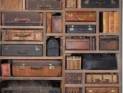 This looks beautiful and is a great way to repurpose old luggage, but I would have in invest in a whole heap of luggage tags so I would know what was in each suitcase.