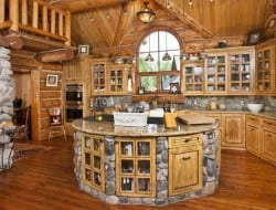 We know you guys will have some interesting thoughts about this log cabin kitchen, so we hand it over to you.