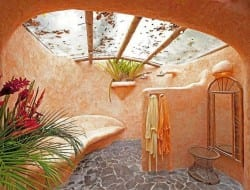 For all those who love the idea of an outdoor bathroom but worry about the dirt, leaves and bugs...  Sold?