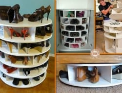 Shoes! It's sometimes hard to store and then find the pair you need. This take on a lazy susan will fix that problem. It's a great idea, don't you think?