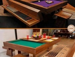 Many people wish they owned a pool table, but just don't have the space. This is a great example of how a bit of creativity allows you to have the best of both worlds - a great dining table, and a pool table for when the meal is over.