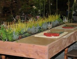 Here's another good example of an outdoor dining table with a living centrepiece!  Pick your own salad? What would you plant?