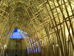 This image displays two extraordinary things...  The ability of a wonderful mind - architect Simon Velez; and  The amazing possibilities that bamboo delivers!
