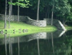 This dry stone wall, built by Andy Goldsworthy, is called