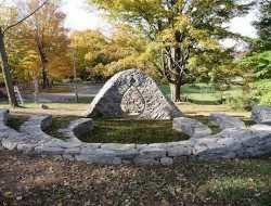 This creation was part of the 2011 Dry Stone Wall Exhibition in Canada.  Do you wish you were there when it was built?