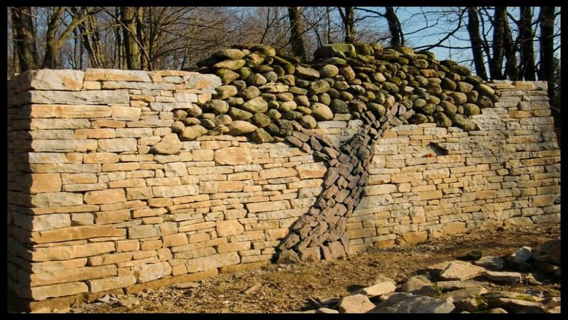 A stunning dry stone wall as a memorial for artist's late wife...