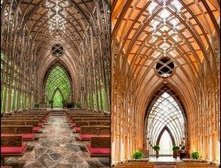 The Cooper Memorial Chapel in Arkansas is a lovely example of nature and architecture working together.