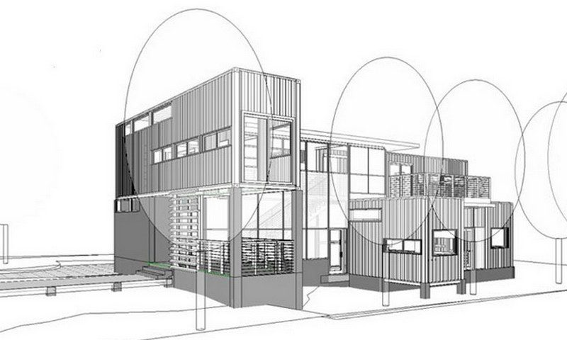 Concept drawing - Glassberg container home