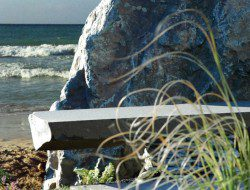 Basalt bench by the sea