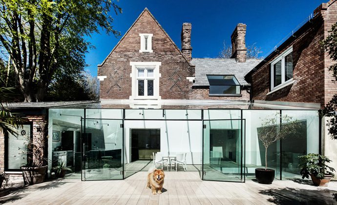 The glass house extension exhibiting the contrast between the old and the new.