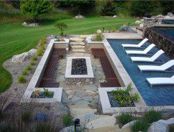 Out of the pool into the warmth. We think this is a great use of the natural contours of the land. What do you think?