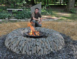 Still looking for that perfect fire pit? How about this split stone donut one. It's a hybrid dry stone wall and fire pit. Great if you have a small area and like the idea of both.