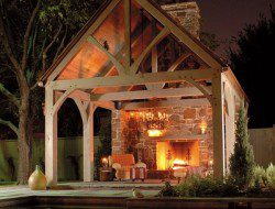 Large scale luxury, but something like this could be achieved on a smaller scale - a wall/chimney/fireplace, with a pergola added - perhaps roll down wall panels to keep the warmth in on cooler nights? What do you think - does your dream backyard have room for one of these? I personally love the heavy wooden beams used to create this!