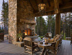 I'm sure part of my attraction to this is the natural surroundings, but an outdoor fire, huge covered deck and heavy timber beams still make me envious.