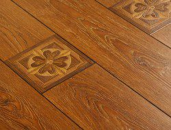 Laminate flooring with imprinted feature image