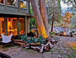 Evening around the firepit at Kaweah Falls