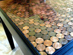 DIY Penny Top Coffee Table