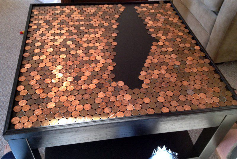 DIY Penny Top Coffee Table - Pennies on Table