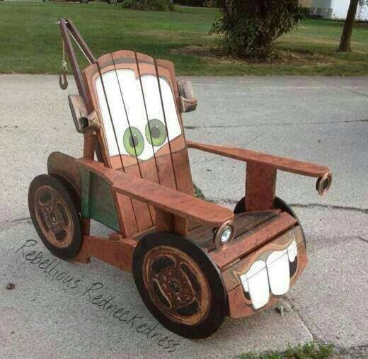 Build a DIY Adirondack chair for kids with a tow Mater design!