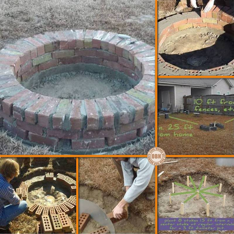 Build a brick fire pit for your backyard