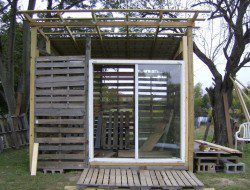 How To Build A DIY Pallet Shed -  Sliding glass door