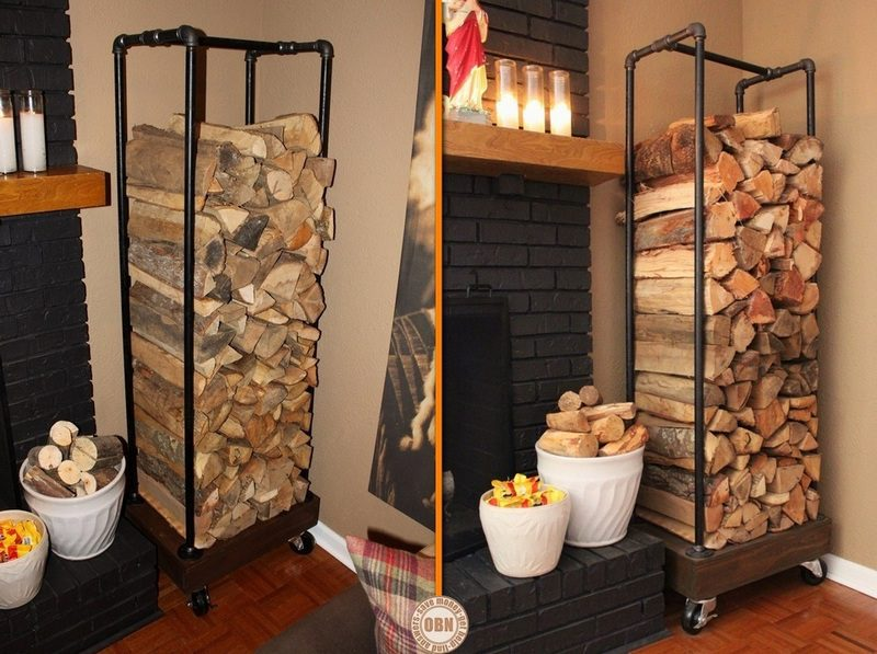 Build a fire wood holder from plumbing pipes
