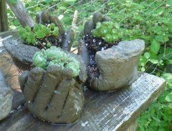 DIY Hand Planters - Finished Hand Planters