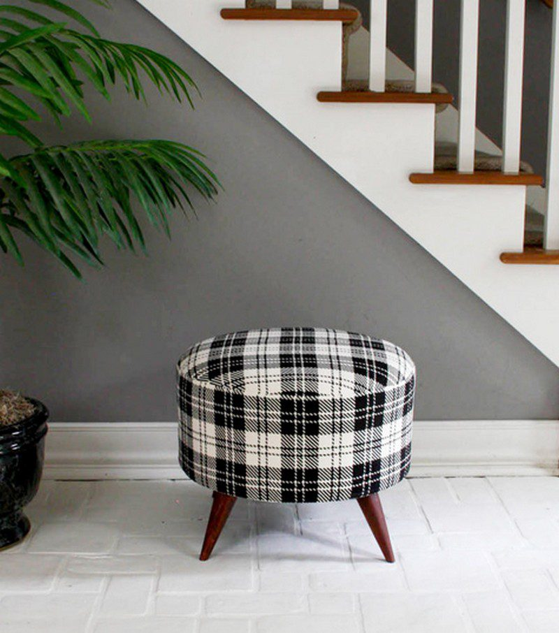 DIY Salvaged Spool Ottoman