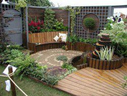 Small and simple courtyard garden.