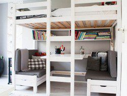 Great Work Area And Conversation Nook Under The Loft Bunk Bed - APC Concept