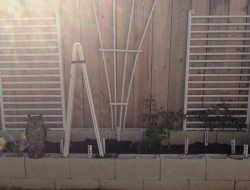 Trellis made from recycled materials.
