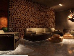 Feature wall and coffee tables