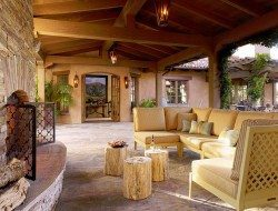 As an outdoor setting of log occasional tables