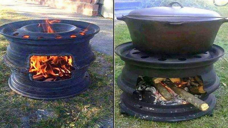 Recycled Rim BBQ Fire Pit