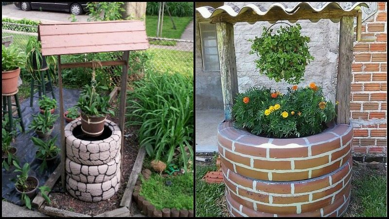 Wishing Well Planter Recycled Tires Main Image