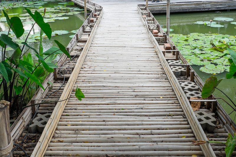 A wonderful example of the beauty of bamboo as a flooring material but perhaps not suited to indoor use :)