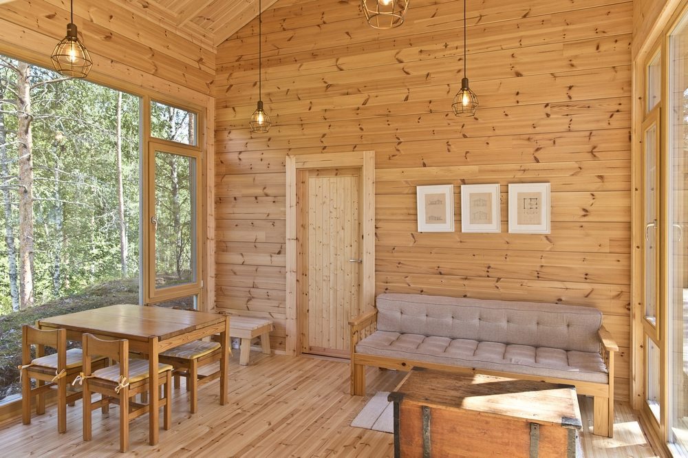 Inside, the structure and walls are made of pine logs.