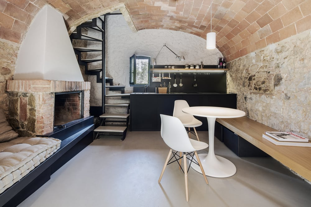 Exposed bricks are everywhere, highlighting the age of the building.