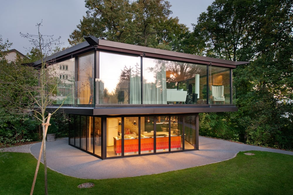 Large glass walls allow easy access to views of the garden from any room in the house.