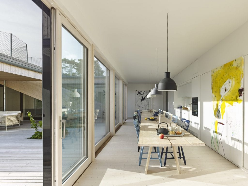 The outside look continues indoors, with bold use of colors punctuating the interiors.