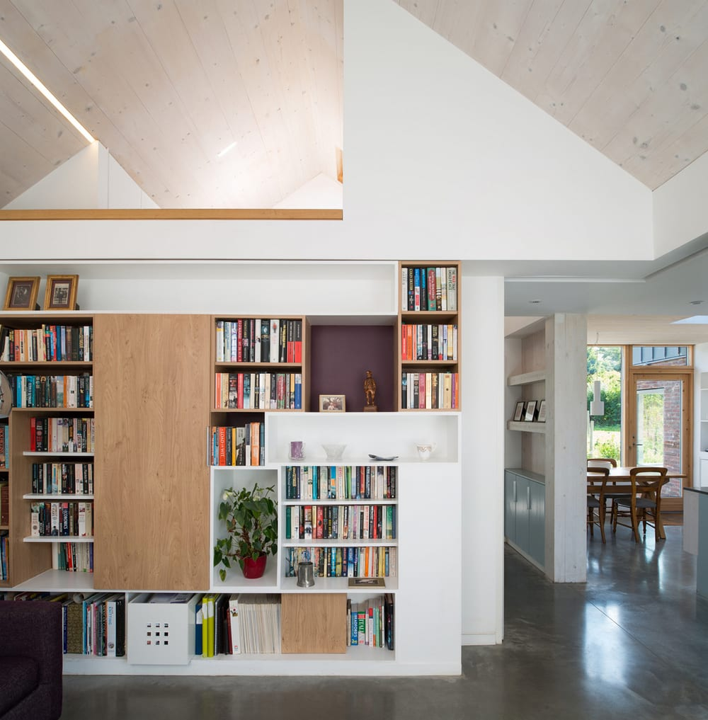 The inside features flexible and interconnected living spaces.