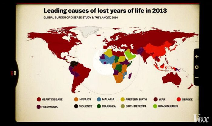 The #1 cause of early death mapped by country!