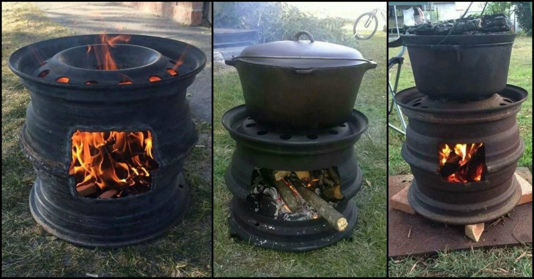 Recycled Tire Rim BBQ and Fire Pit