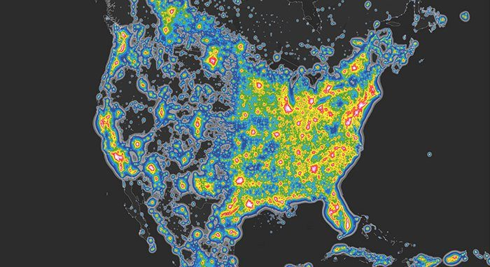 This image shows the extraordinary extent of light pollution in the USA. It's stretches way beyond the cities.